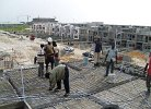 Upon completion of decking, steel and electrical components are installed in preparation of concrete placement