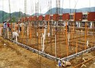 Once structural footings are dug, slab steel is installed in accordance with local code