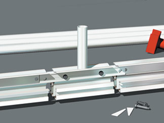 The drop head, beam bars, and beams are assembled using standard pins and wedges.