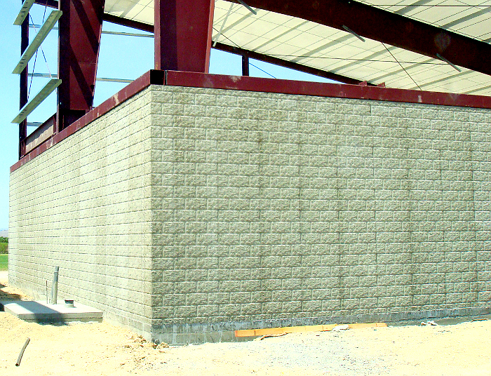 split block concrete wall